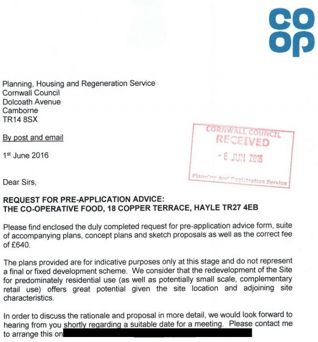 Covering letter - PA16/01651/PREAPP | Pre-Application advice for the redevelopment of food store site including carpark for residential use predominately (Includes Highway Consultation) | Co Op Stores 18 Copper Terrace Copperhouse Hayle Cornwall TR27 4EB