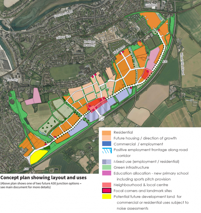 Concept plan showing layout and uses   Hayle Growth Area Concept Plan