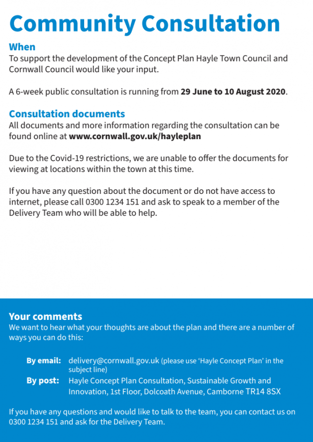 Community Consultation - A 6-week public consultation is running from 29 June to 10 August 2020 | Hayle Growth Area Concept Plan